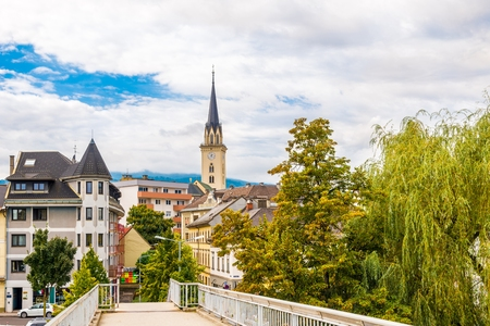 VILLACH, AUSTRIA - SEPTEMBER 15,2018 - View at the old city centre of Villach. Villach is the seventh-largest city in Austria. Editorial
