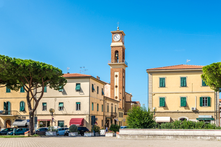 CECINA,ITALY - SEPTEMBER 18,2018 - View at the Cecina town from Childern square. Cecina lies in the Province of Livorno in the Italian region Tuscany. Editorial
