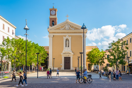 CECINA,ITALY - SEPTEMBER 18,2018 - View at the church of Saints Giuseppe and Leopold in Cecina. Cecina lies in the Province of Livorno in the Italian region Tuscany. Editorial