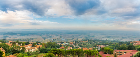 Panoramic view from Volterra to Tuscany countryside - Italy Stock Photo