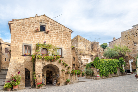 BAGNOREGIO,ITALY - SEPTEMBER 19,2018 - In the streets of Civita di Bagnoregio. Civita di Bagnoregio was founded by Etruscans more than 2,500 years ago. Editorial