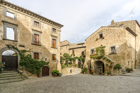 BAGNOREGIO,ITALY - SEPTEMBER 19,2018 - View at the Stone buildings in Civita di Bagnoregio. Civita di Bagnoregio was founded by Etruscans more than 2,500 years ago. Editorial