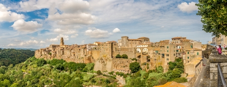 PITIGLIANO,ITALY - SEPTEMBER 19,2018 - Panoramic view at the Pitigliano town. Pitigliano and its area were inhabited in Etruscan times.The quaint old town is known as the little Jerusalem.