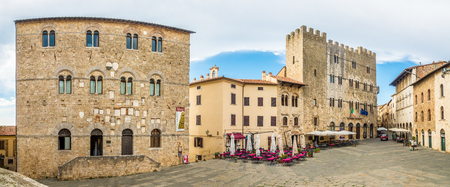 MASSA MARITTIMA,ITALY - SEPTEMBER 19,2018 - Panoramic view at the Garibaldi place with building of Museum and Town hall in Massa Marittima. Massa Marittima is a town in the province of Grosseto.