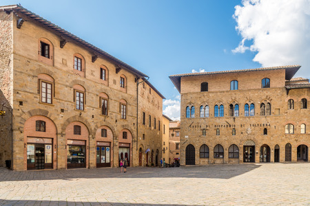 VOLTERRA,ITALY - SEPTEMBER 20,2018 - Buildings at the Priori Place of Volterra. History of Volterra dates from before the 7th century BC. Editorial