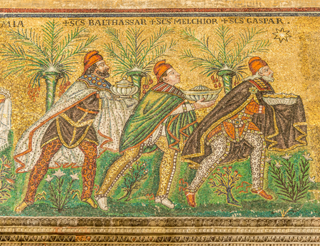 RAVENNA,ITALY - SEPTEMBER 24,2018 - Mosaic of Three Kings in New Basilica of Saint Apollinaris in Ravenna. Ravenna is the capital city of the Province of Ravenna, in the Emilia-Romagna.