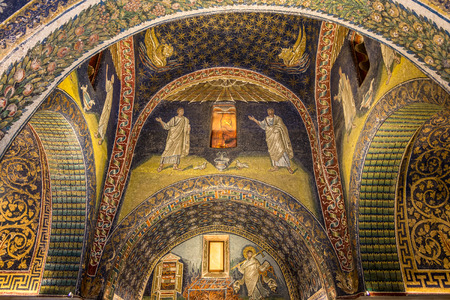 RAVENNA,ITALY - SEPTEMBER 24,2018 - Mosaic decoration in Chapel of Santa Croce in Ravenna. Ravenna is the capital city of the Province of Ravenna, in the Emilia-Romagna.