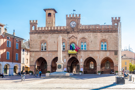 FIDENZA,ITALY - SEPTEMBER 25,2018 - View at the Town Hall and Garibaldi obelisk in Fidenza. Fidenza is a town and comune in the province of Parma. Editorial