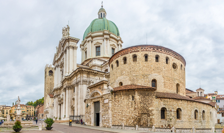 View at the Two cathedrals of Brescia: the Old (at right) and the New (at left), Italy