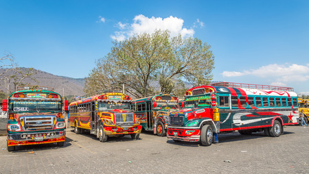 ANTIGUA,GUATEMALA - MARCH 4,2019 - At the Bus station of Antigua Guatemala. Antigua Guatemala it served as the capital of the Kingdom of Guatemala. Editorial