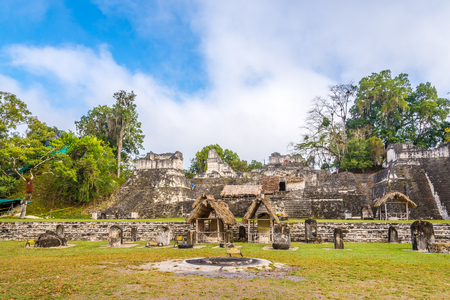 TIKAL, GUATEMALA - MARCH 7,2019 - The Grand Place of Tikal Natinal Park. Tikal is one of the largest archaeological sites and urban centers of the pre-Columbian Maya civilization.