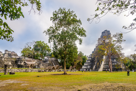 TIKAL, GUATEMALA - MARCH 7,2019 - View of Tikal Temple from Grand Place of Tikal Natinal Park. Tikal is one of the largest archaeological sites and urban centers of the pre-Columbian Maya civilization.