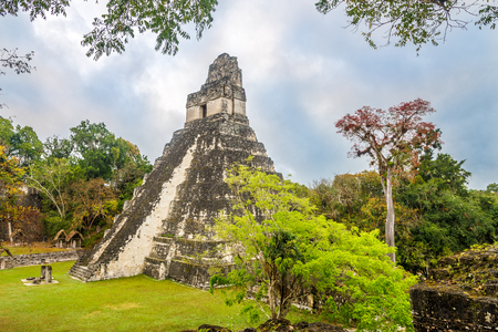 View at the Temple I from Central Acropolis in Tikal National Park, Guatemala Stock Photo