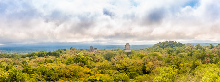 Panoramic view at the forest with Top of Temples in Tikal National park, Guatemala