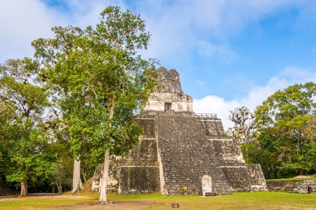 View from Grand Place at the Temple II in Tikal National Park, Guatemala Stock Photo