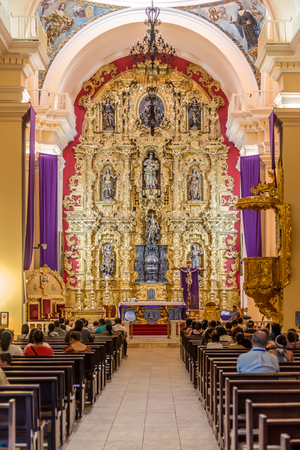 TEGUCIGALPA,HODURAS - MARCH 13,2019 - View at the interior of Cathedral of Saint Michael Archangel in Tegucigalpa. Tegucigalpa is capital of Honduras.