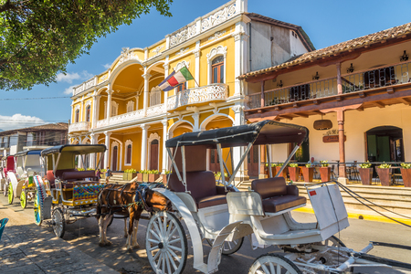GRANADA,NICARAGUA - MARCH 16,2019 - In the streets of Granada. Granada is historically one of Nicaraguas most important cities.