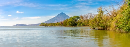 Panoramic view at the Conception Volcano with Nicaragua lake at the Ometepe Island in Nicaragua