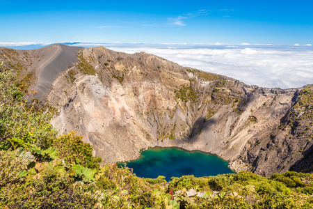 View to the Crater of Irazu Volcano at Irazu Volcano National Park - Costa Rica 스톡 콘텐츠