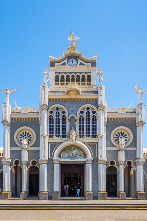 View at he Facade of Basilica Our Lady of the Angels in Cartago, Costa Rica