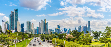 PANAMA CITY,PANAMA - MARCH 28,2019 - Panoramic view at the Downtown of Panama City. Panama City is Capital of Panama.