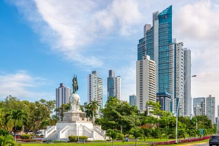 Park with monument Vasco Nunez de Balboa in Panama City, Panama