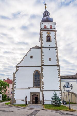 View at the Church of Saint Peter and Paul in Nove Hrady, Czech Republic 免版税图像