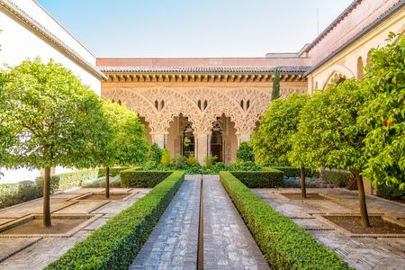 ZARAGOZA,SPAIN - MAY 11,2019 - View at the cortyard of Santa Isabel in Aljafería Palace in Zaragoza. Zaragoza is the capital city of the Zaragoza province and of the autonomous community of Aragon. Éditoriale