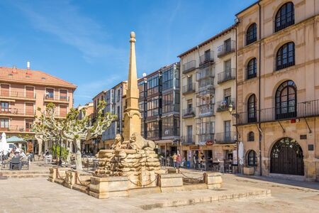 SORIA,SPAIN - MAY 12,2019 - Leon Fountain at the Mayor place in Soria. Soria is the second highest provincial capital in Spain ,1063 metres above sea level.