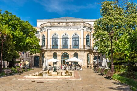 BURGOS,SPAIN - MAY 12,2019 - View at the Principal Theater with fountain in Burgos. Burgos is a city in northern Spain and the historic capital of Castile.