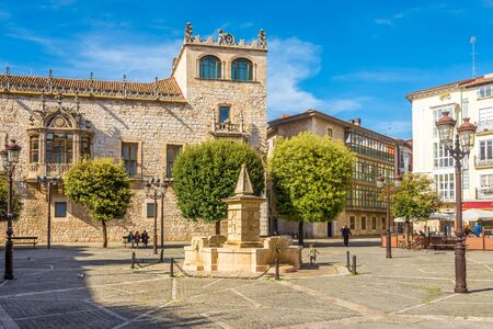 BURGOS,SPAIN - MAY 12,2019 - Place of Liberty with House of Cordon In Burgos. Burgos is a city in northern Spain and the historic capital of Castile.