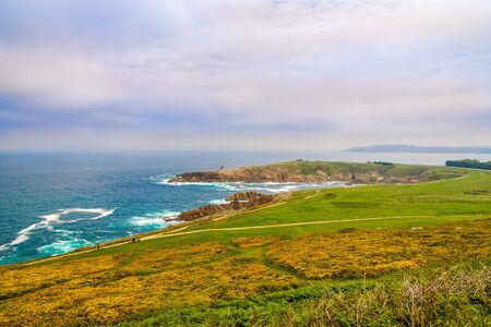 A view of the wild coastline of the Atlantic Ocean in the city of A Coruna - Spain