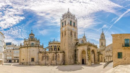 Panoramic view at the Complex building of Cathedral in Lugo, Spain Banco de Imagens