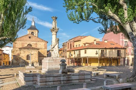 Grano place with Market Church in Leon - Spain