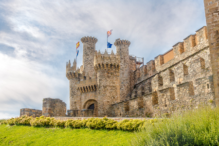 View at the Templar Castle, built in the 12th century in Ponferrada, Spain Editorial
