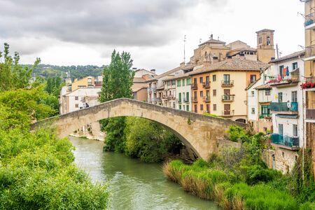 View at the Weevil bridge over Ega river in Estella Lizarra, Spain