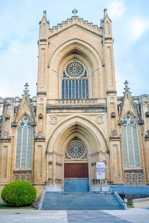 VITORIA, SPAIN - MAY 18,2019 - Cathedral of Santa Maria Immaculada in Vitoria - Gateiz. Vitoria is a multicultural city with strengths in the arts, education, healthcare, architectural conservation, oenology and gastronomy.