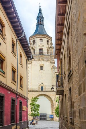 VITORIA, SPAIN - MAY 18,2019 - Bell Tower of Santa Maria Cathedral in Victoria-Gasteiz. Vitoria is a multicultural city with strengths in the arts, education, healthcare, architectural conservation, oenology and gastronomy.