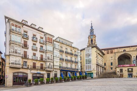 VITORIA, SPAIN - MAY 18,2019 - At the Virgen Blanca Square in Vitoria-Gasteiz. Vitoria is a multicultural city with strengths in the arts, education, healthcare, architectural conservation, oenology and gastronomy.