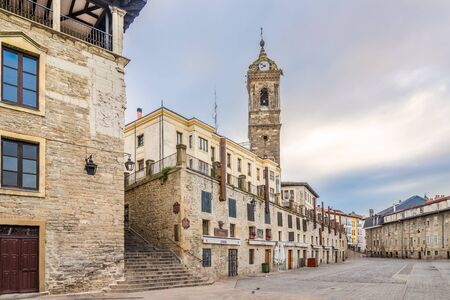 VITORIA, SPAIN - MAY 18,2019 - Church of San Vincente in the streets of Vitoria-Gasteiz. Vitoria is a multicultural city with strengths in the arts, education, healthcare, architectural conservation, oenology and gastronomy. Redactioneel