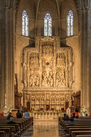 HUESCA,SPAIN - MAY 19,2019 - View at the Altar of Saint Mary Cathedral in Huesca. The city Huesca is one of the smallest provincial capitals in Spain.