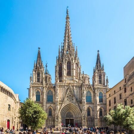 BARCELONA,SPAIN - MAY 20,2019 - View at the Facade of Cathedral in Barcelona. Barcelona is the capital and largest city of the autonomous community of Catalonia in Spain Sajtókép
