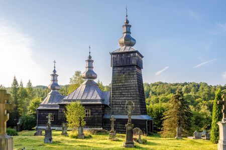 View at the Wooden Church of Saint Luke in Leszczyny village, Poland