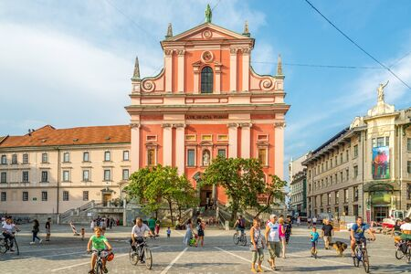 LJUBLJANA,SLOVENIA - SEPTEMBER 1,2019 - View at the Church of Annunciation Saint Mary in the streets of Ljubljana. Ljubljana is the capital and largest city of Slovenia.