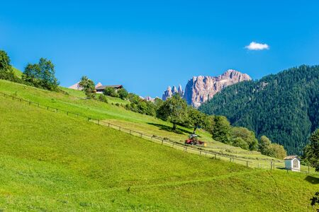 View at the nature from small village Tiers in South Tyrol in Italy