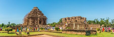 KONARK,INDIA - NOVEMBER 10,2019 - Panoramic view at the Konark Temples. Konark Sun temple is dedicated to the Hindu Sun God Surya.