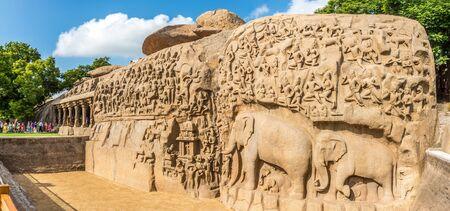 MAHABALIPURAM,INDIA - NOVEMBER 12,2019 - Panoramic view at largest rock relief in Asia - The Descent of the Ganges. Mahabalipuram, is a town in the southeastern Indian state of Tamil Nadu. Redakční