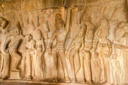 View at the Decoration rock relief Krishna Mandapam in Mamallapuram - Tamil Nadu,India