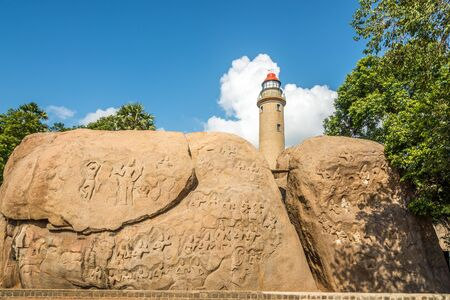 View at the Decoration rock relief with Lighthouse in Mamallapuram - Tamil Nadu,India