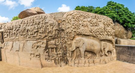 Panoramic view at Largest rock reliefs in Asia - The Descent of the Ganges in Mamallapuram - Tamil Nadu,India